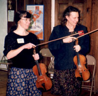 Susan Conger and Becky Anderson playing Fiddle Geese